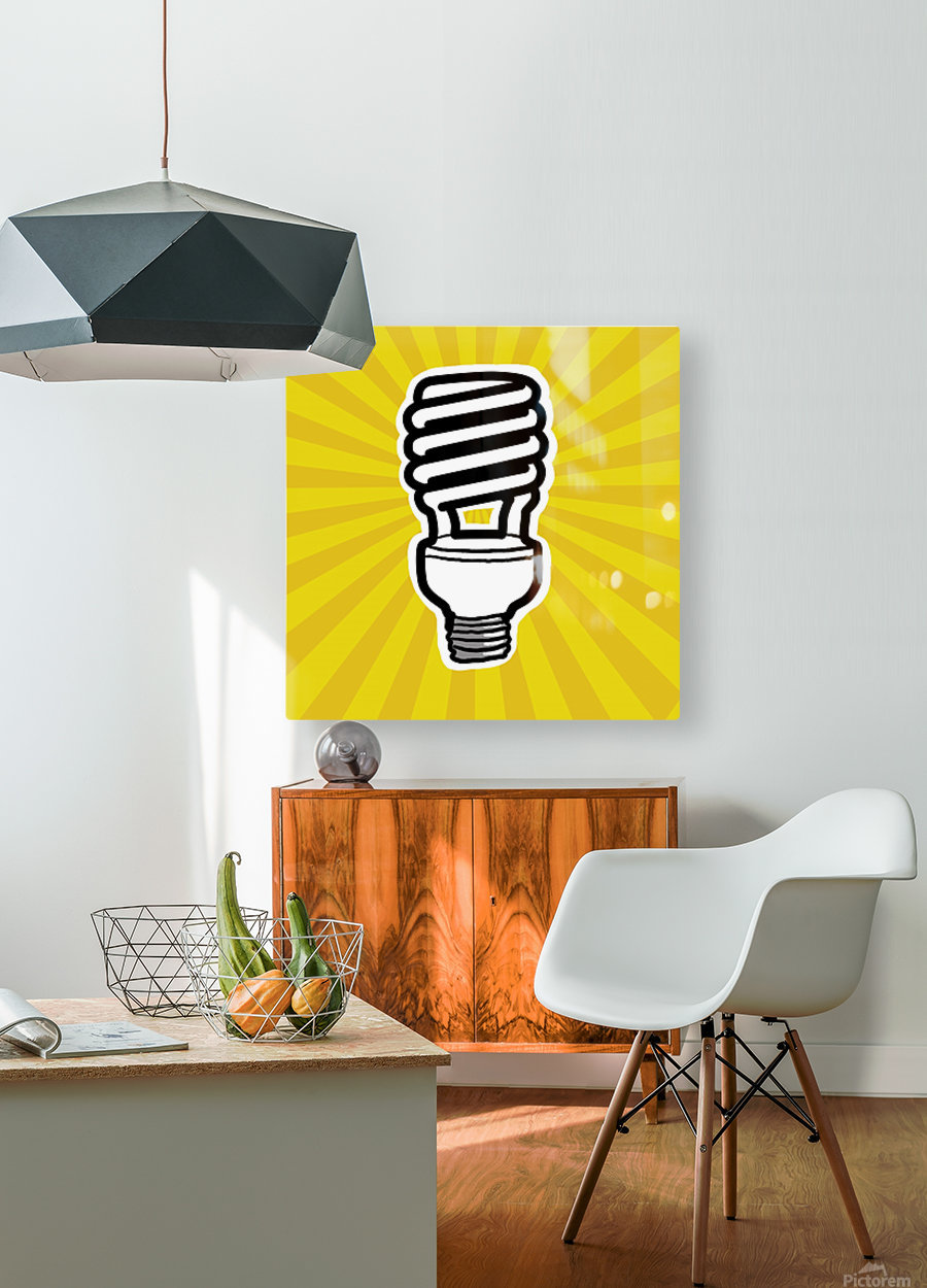 Compact Fluorescent Lightbulb  HD Metal print with Floating Frame on Back