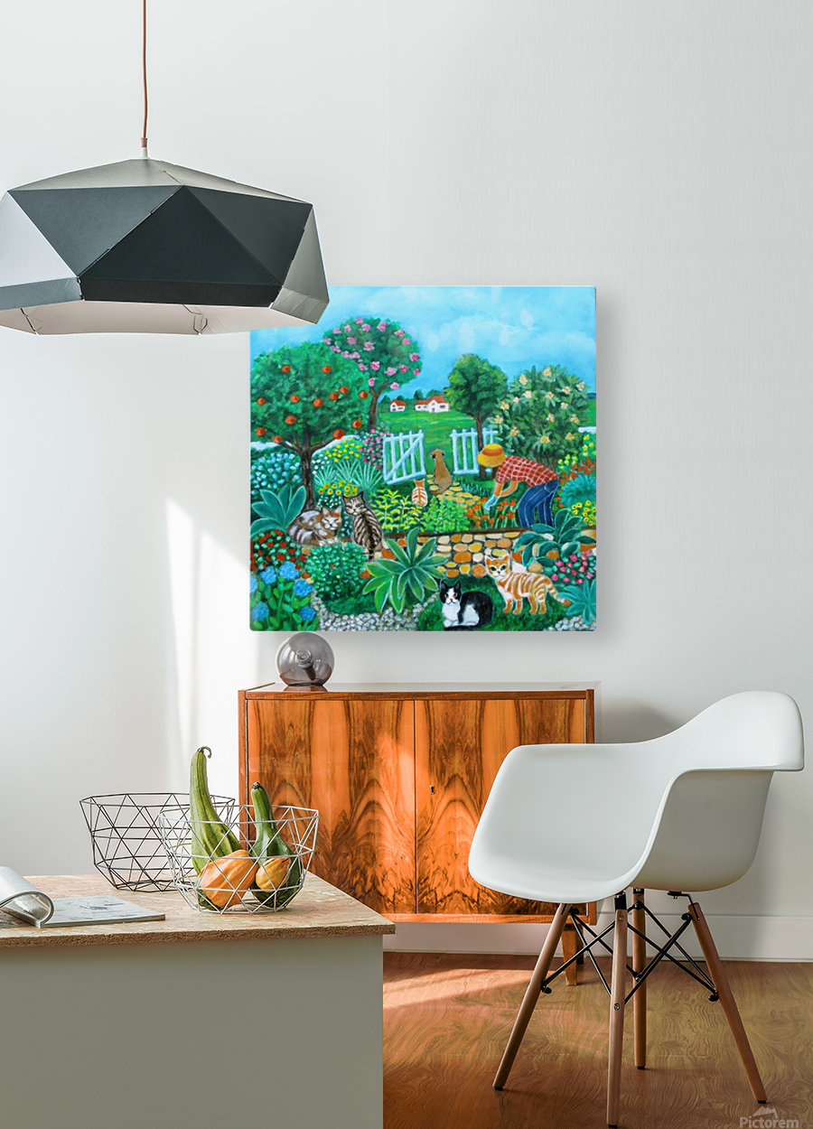 gardening  HD Metal print with Floating Frame on Back