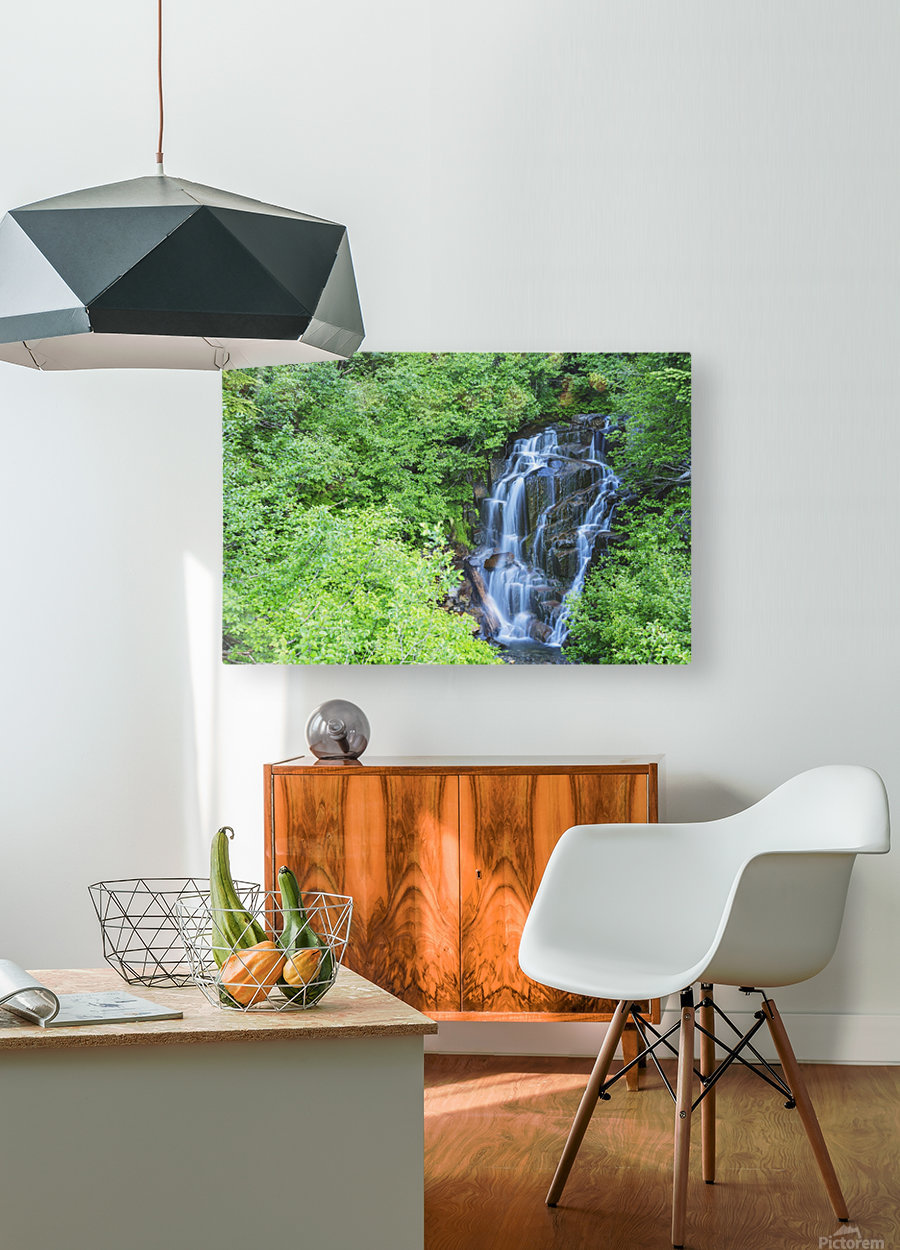 Stevens creek waterfall mount rainer national park near seattle;Washington united states of america  HD Metal print with Floating Frame on Back