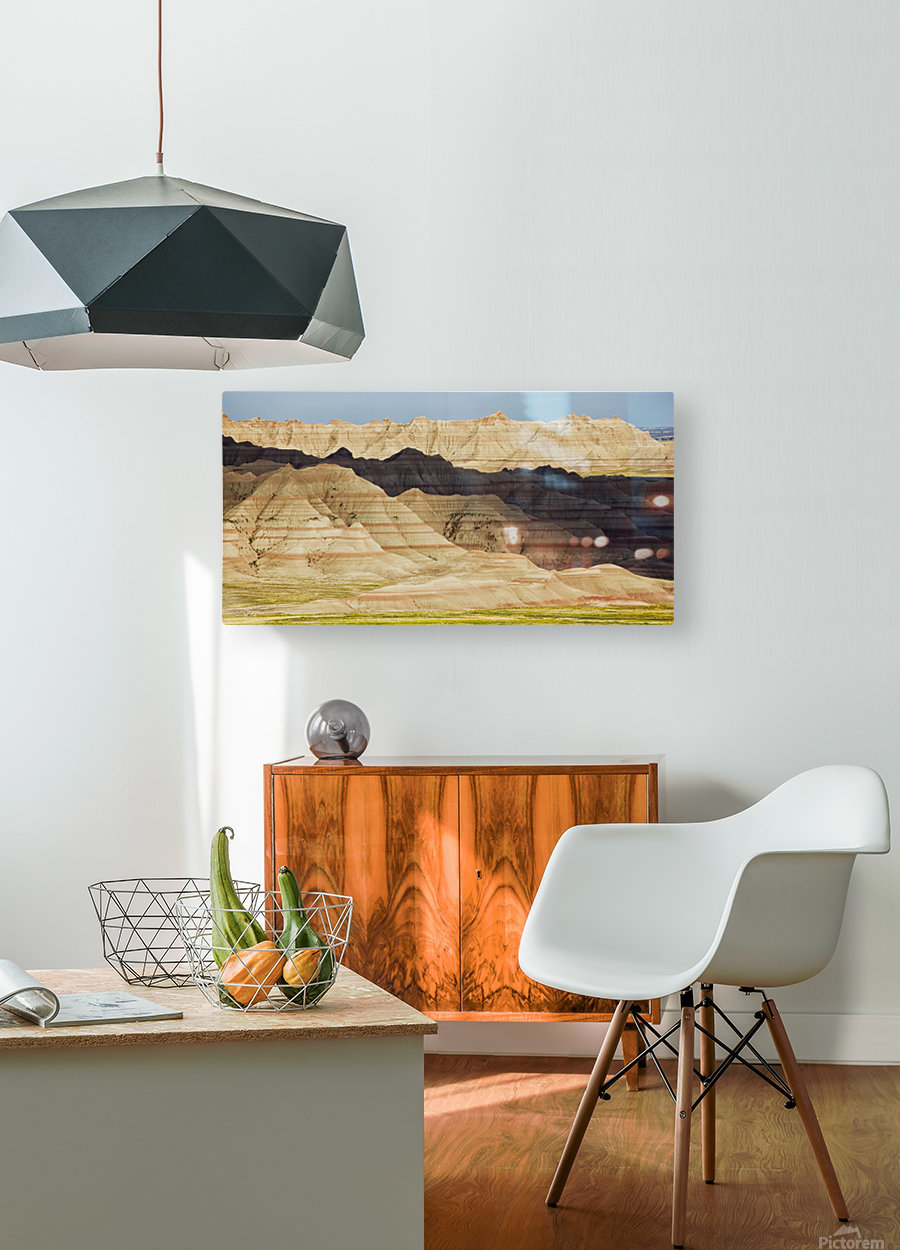 Light and shadows paint the landscape of badlands national park; south dakota united states of america  HD Metal print with Floating Frame on Back
