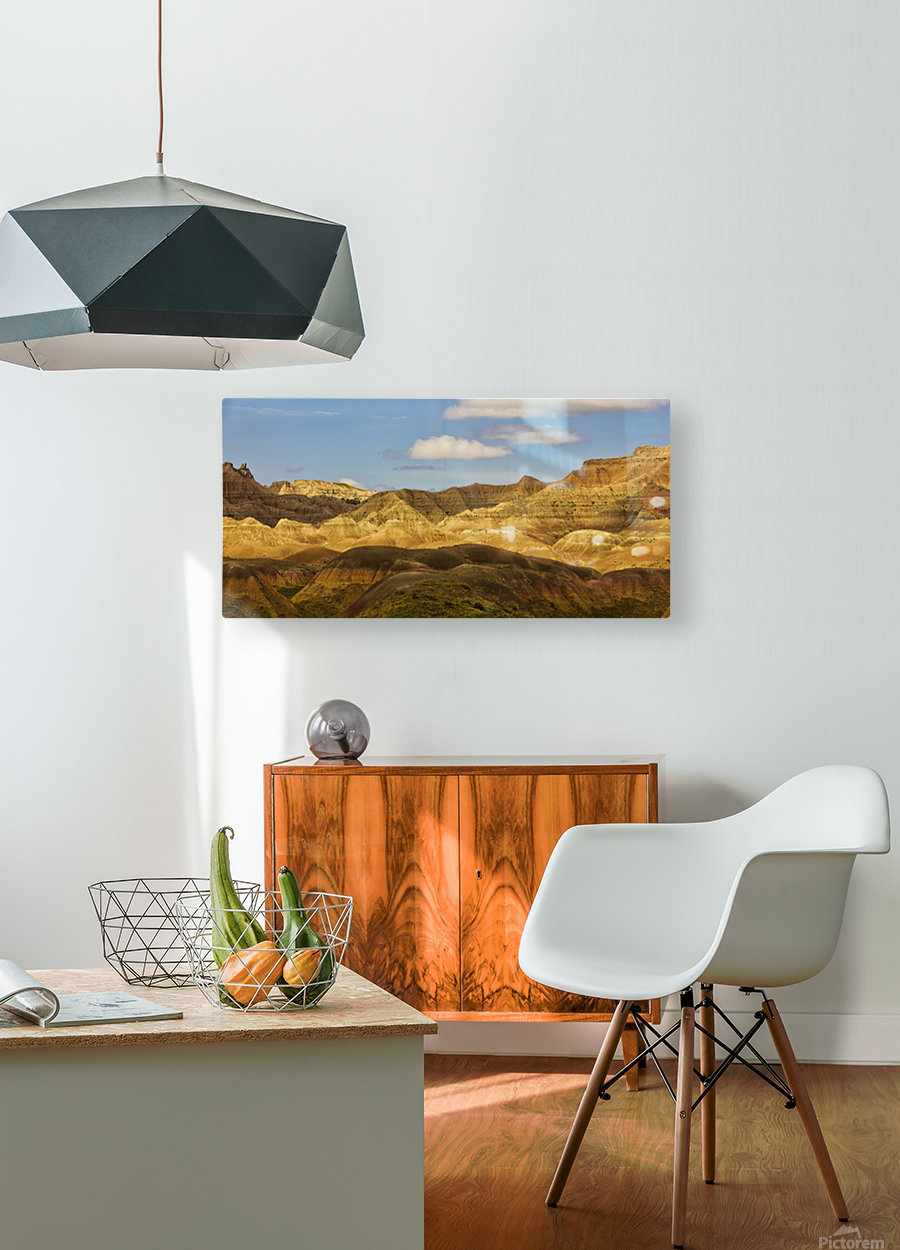 Dramatic light on the eroded formations of badlands national park; south dakota united states of america  HD Metal print with Floating Frame on Back