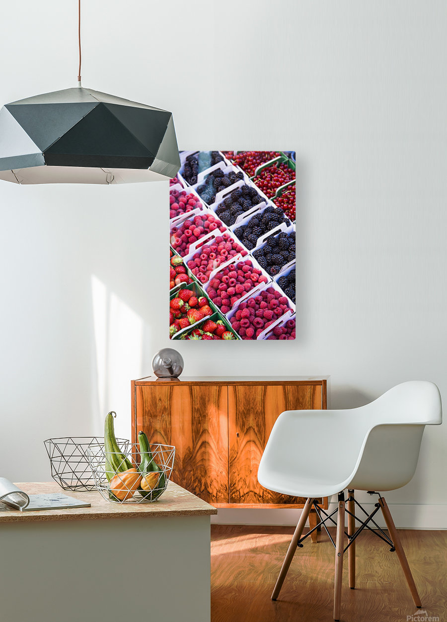 Berries in boxes at a food market;Sault vaucluse provence france  HD Metal print with Floating Frame on Back