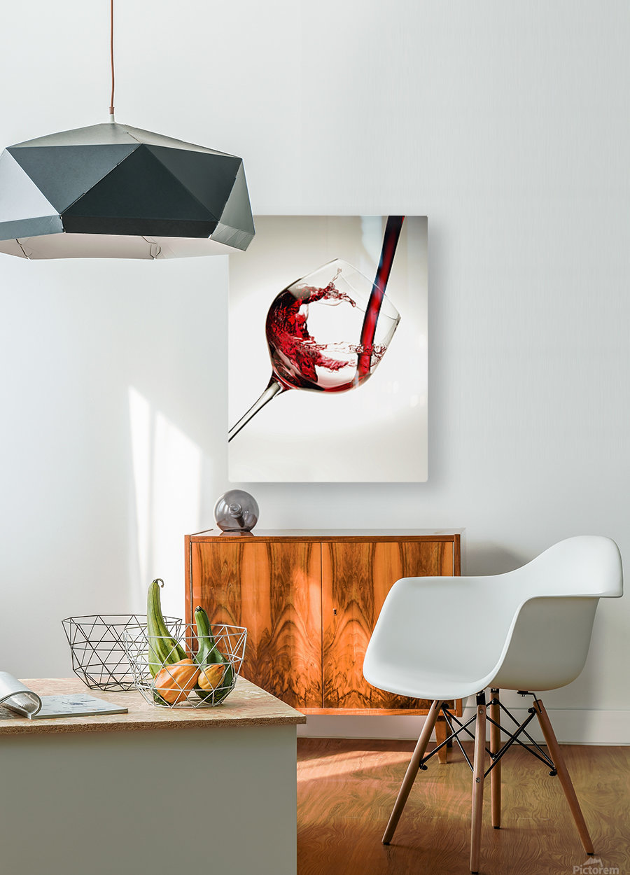 Red wine pouring into a glass  HD Metal print with Floating Frame on Back