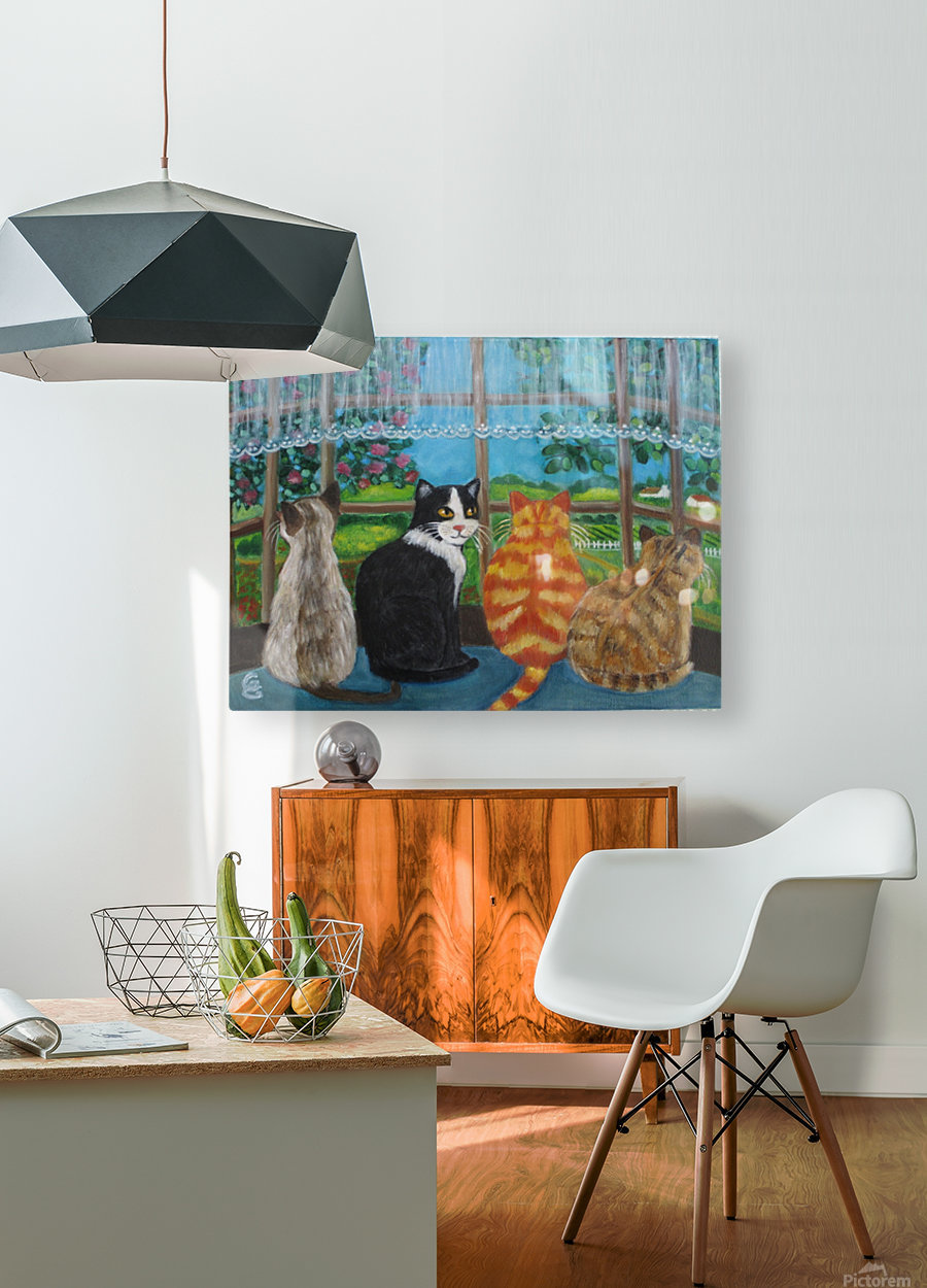 cats in window  HD Metal print with Floating Frame on Back