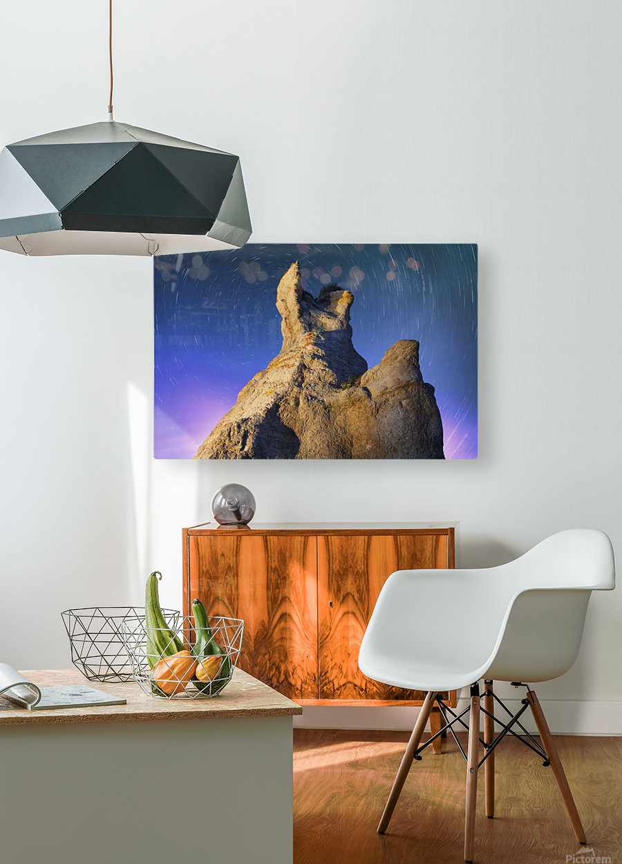 Light painting on La Montagnaise and star trails, Ile Nue de Mingan, Mingan Archipelago National Park Reserve of Canada, Cote-Nord, Duplessis region; Quebec, Canada  HD Metal print with Floating Frame on Back