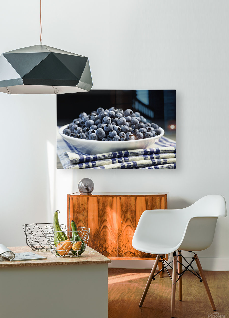 Bowl of blueberries; Quebec, Canada  HD Metal print with Floating Frame on Back