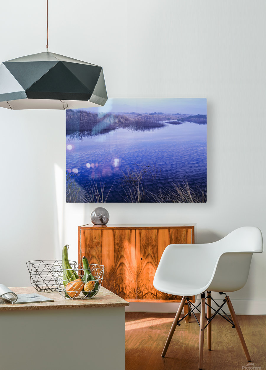 Clouds reflected in the deflection plain; Lakeside, Oregon, United States of America  HD Metal print with Floating Frame on Back