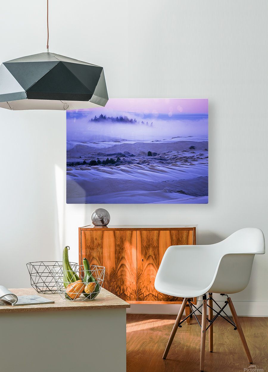 Fog over the sand dunes at dawn after a heavy frost; Lakeside, Oregon, United States of America  HD Metal print with Floating Frame on Back