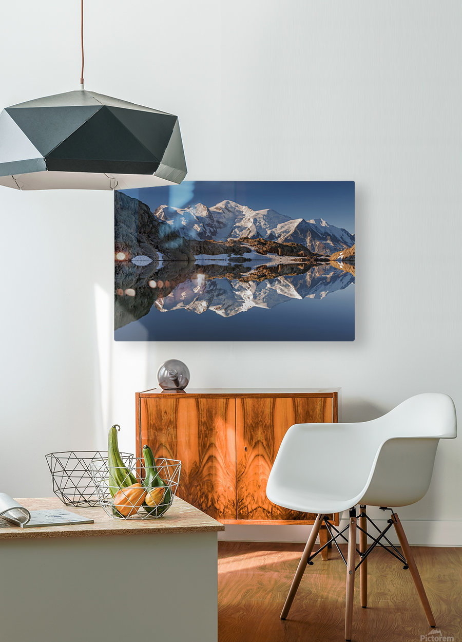 White in Black (Mont Blanc in Lac Noir), French Alps  HD Metal print with Floating Frame on Back