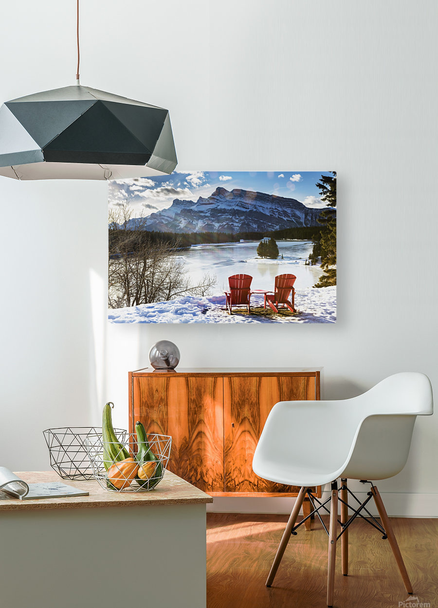 Two red chairs on snow covered ridge overlooking frozen lake with snow covered mountain in the background with blue sky and clouds; Banff, Alberta, Canada  HD Metal print with Floating Frame on Back