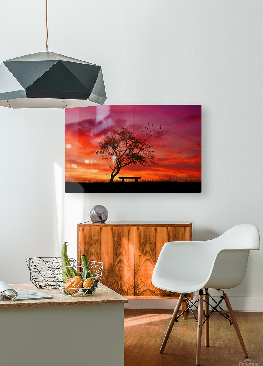 lonely sunset  HD Metal print with Floating Frame on Back