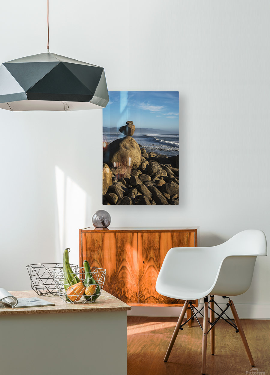 Stones have been balanced on Neahkahnie Beach; Manzanita, Oregon, United States of America  HD Metal print with Floating Frame on Back