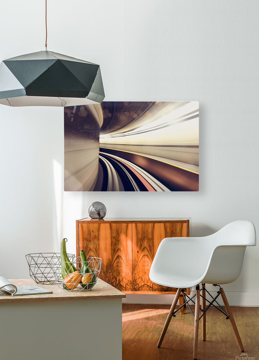 Long exposure while taking underground transportaion giving a time warp feel; Seattle, Washington, United States of America  HD Metal print with Floating Frame on Back