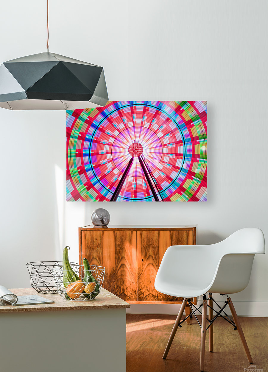 Long exposure photograph showcasing the many color combinations the Big Wheel produces at night; Seattle, Washington, United States of America  HD Metal print with Floating Frame on Back