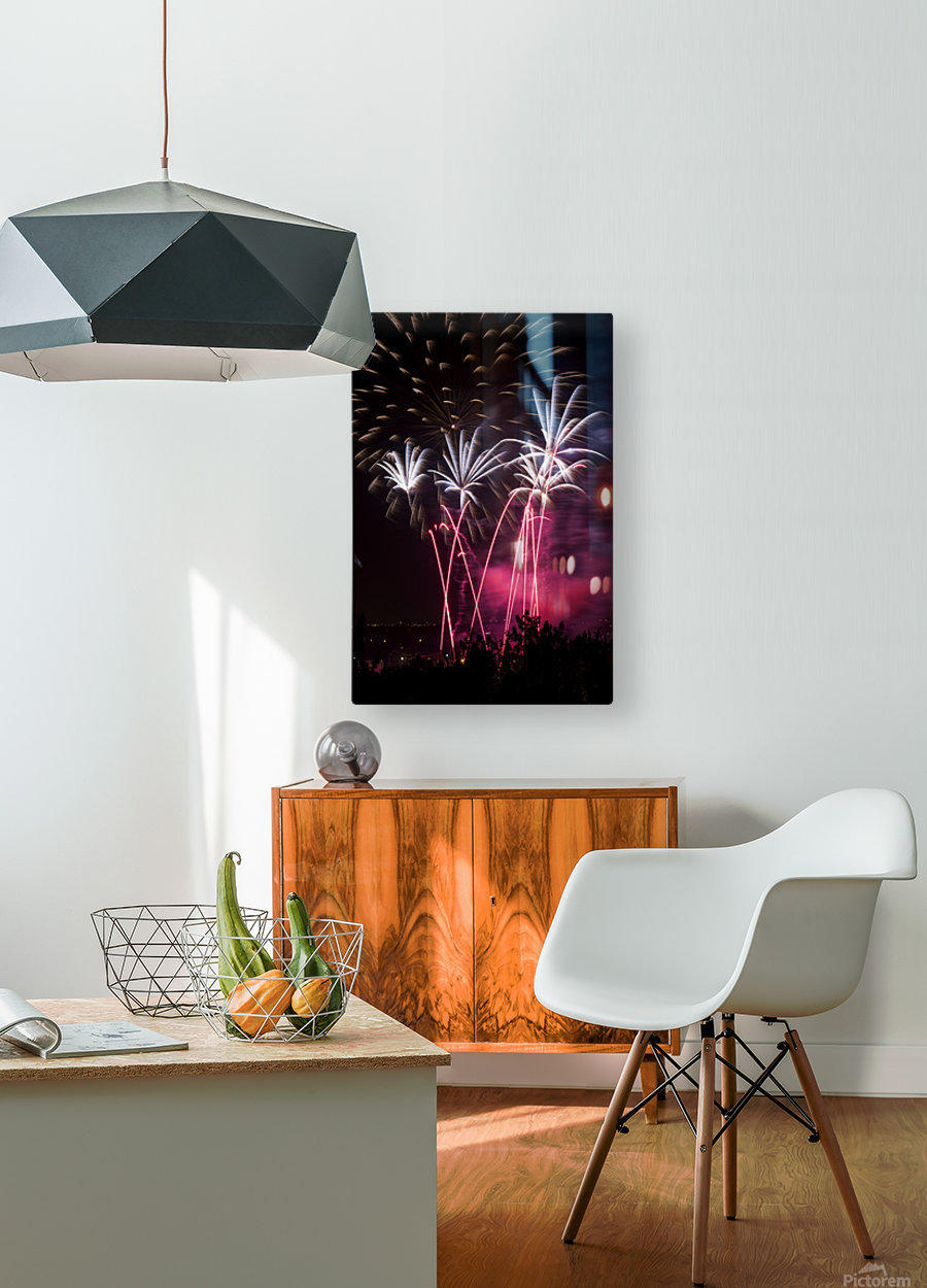 Colourful fireworks at nighttime; Calgary, Alberta, Canada  HD Metal print with Floating Frame on Back