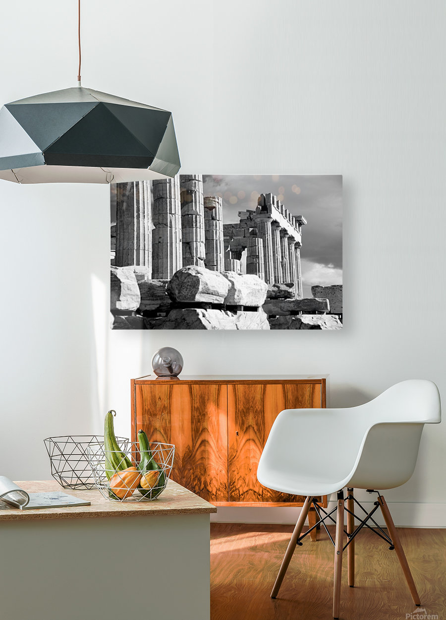 Mono piles of stones before ruined Parthenon; Athens, Attica, Greece  HD Metal print with Floating Frame on Back