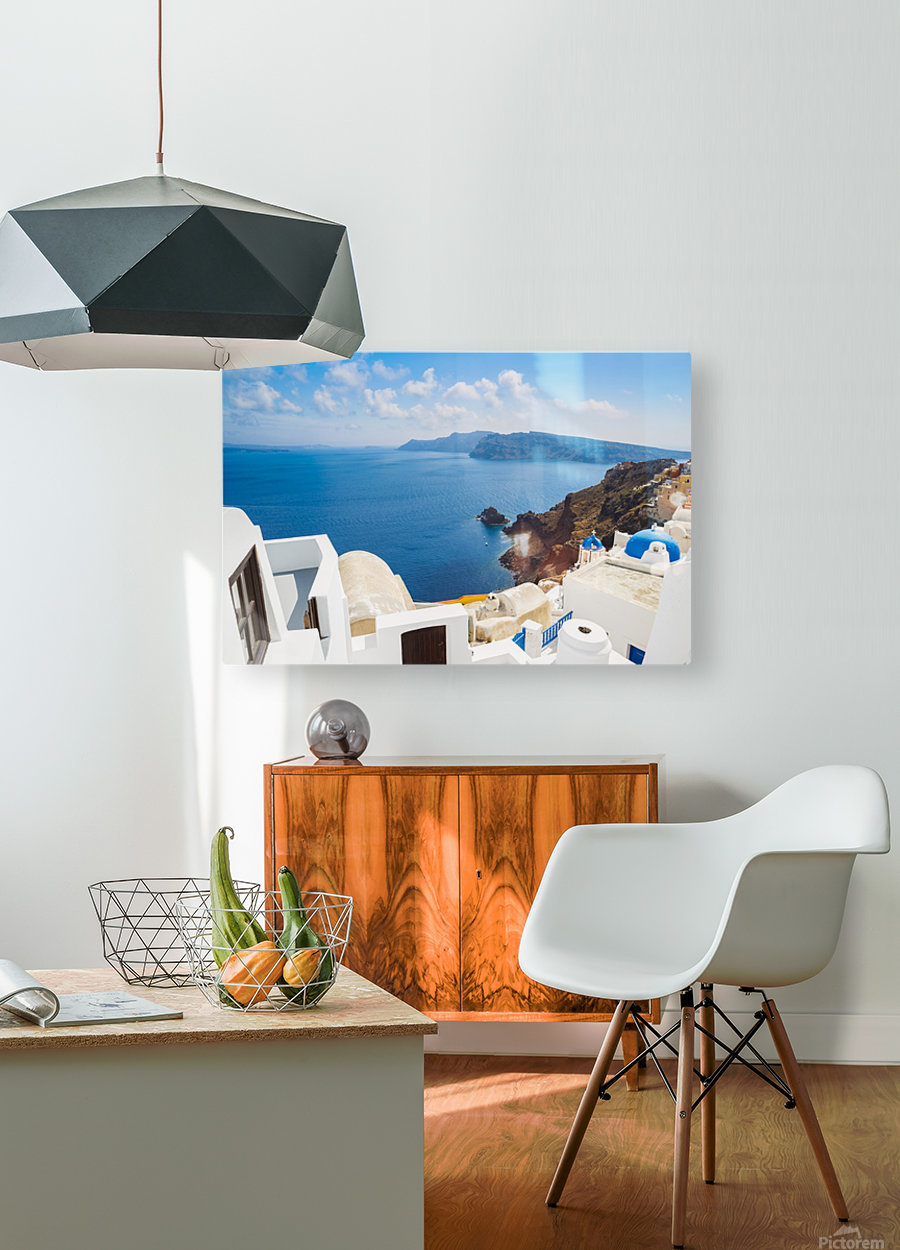 Santorini Island, Greece, Beautiful View of Blue Ocean and Traditional Dome Church Architecture  HD Metal print with Floating Frame on Back