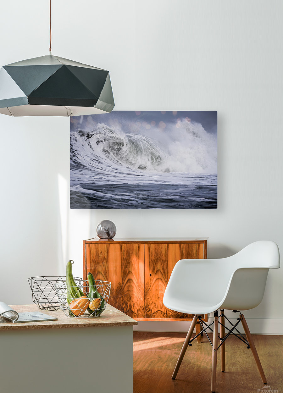 A large wave breaks on a stormy morning; Seaside, Oregon, United States of America  HD Metal print with Floating Frame on Back