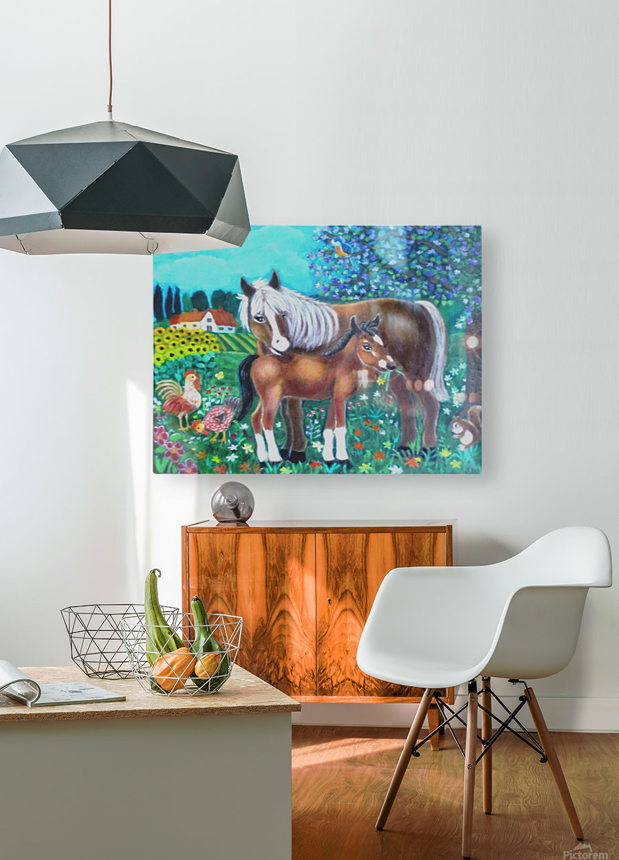 A mare and her foal.  HD Metal print with Floating Frame on Back