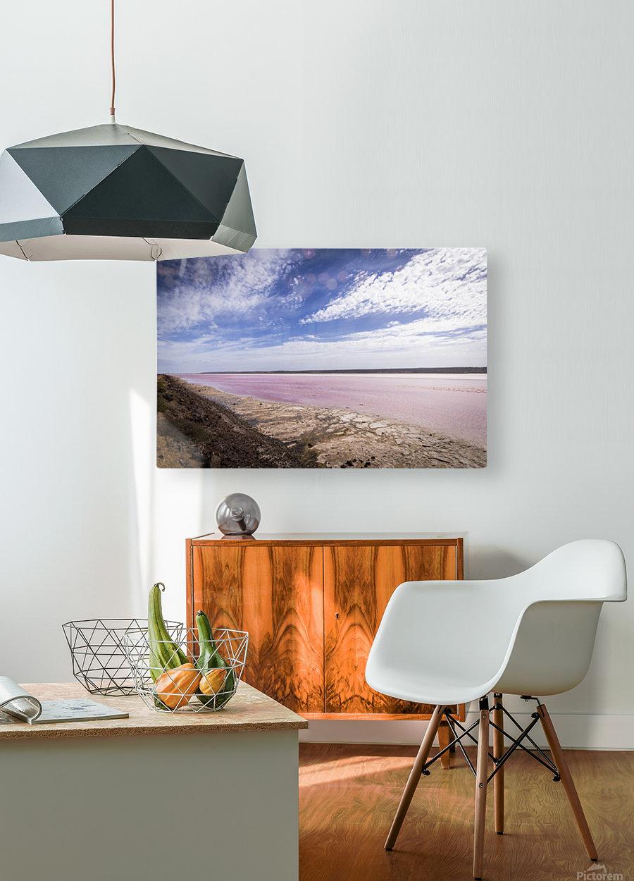 Pink Lake  Impression métal HD avec cadre flottant sur le dos