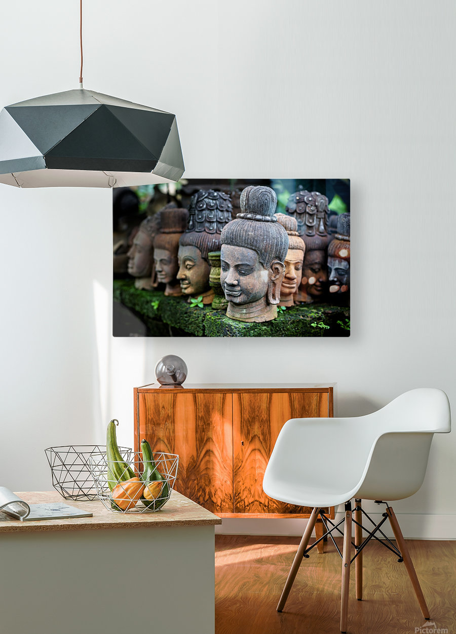 Heads of statues of Buddha are stacked in a terra-cotta factory; Chiang Mai, Thailand  HD Metal print with Floating Frame on Back