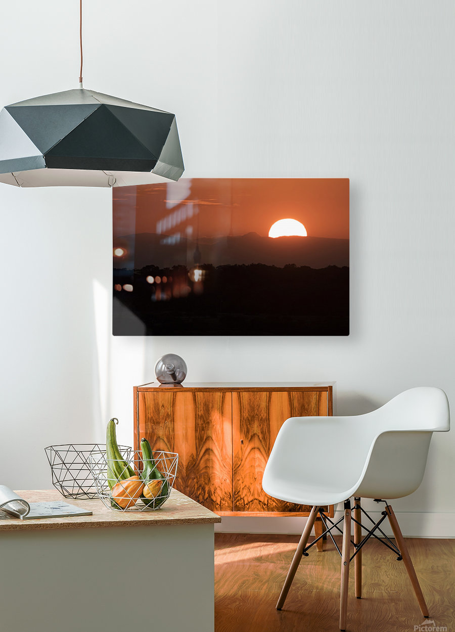 Setting sun overtop of the African landscape; South Africa  HD Metal print with Floating Frame on Back
