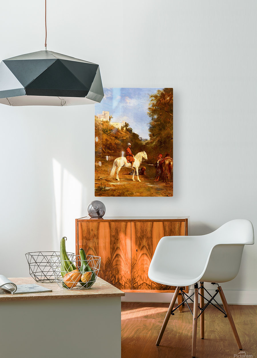 Watering the horses  HD Metal print with Floating Frame on Back