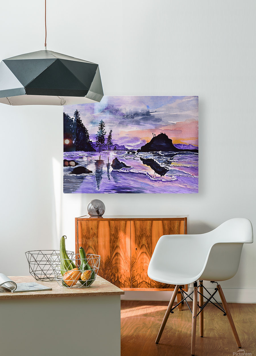 Sunrise Reflection at Second Beach  HD Metal print with Floating Frame on Back