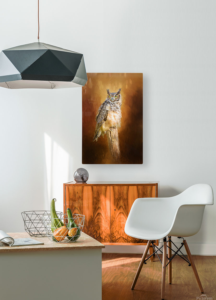 Great Horned Owl In Autumn  HD Metal print with Floating Frame on Back