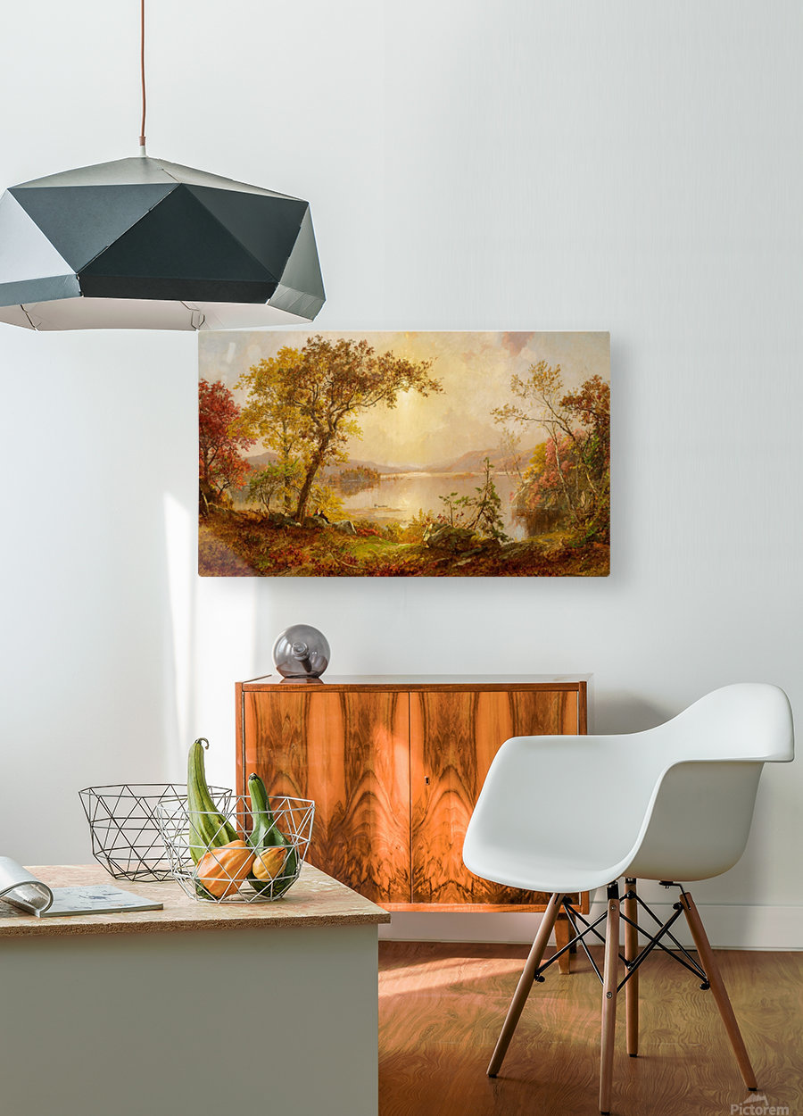 Lake Autumn on the Hudson  HD Metal print with Floating Frame on Back
