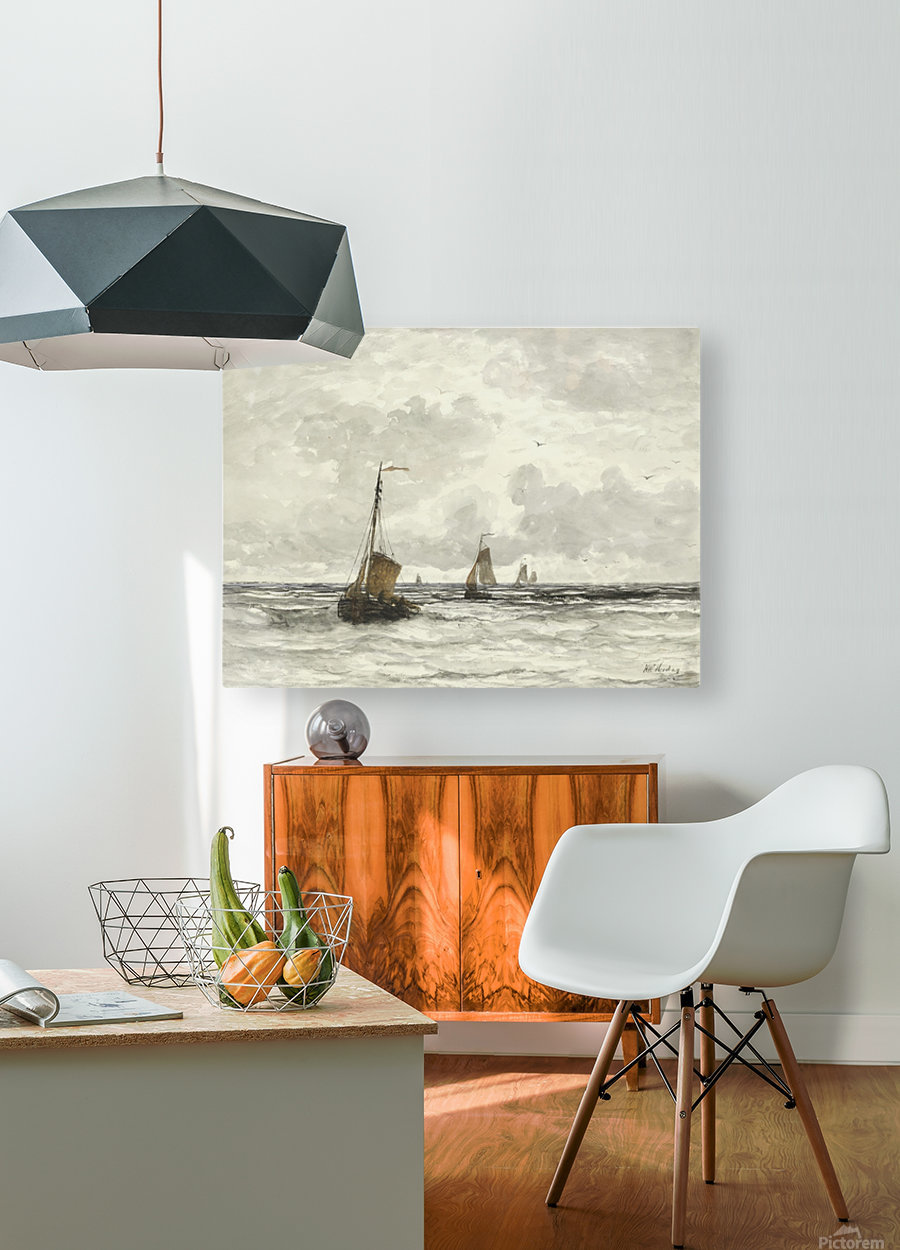 Vissersschepen in de branding  HD Metal print with Floating Frame on Back