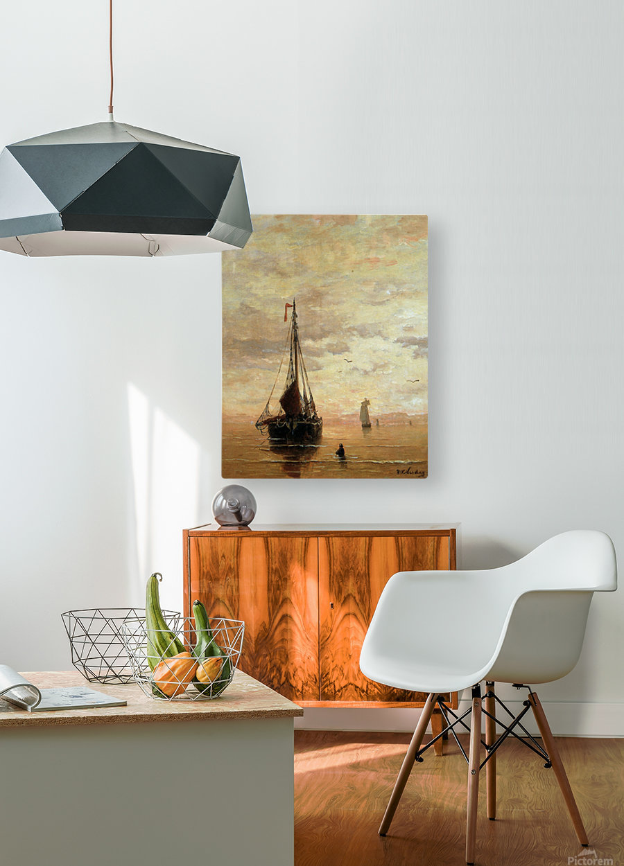 Ships On A Calm Sea Near The Coast Sun  HD Metal print with Floating Frame on Back
