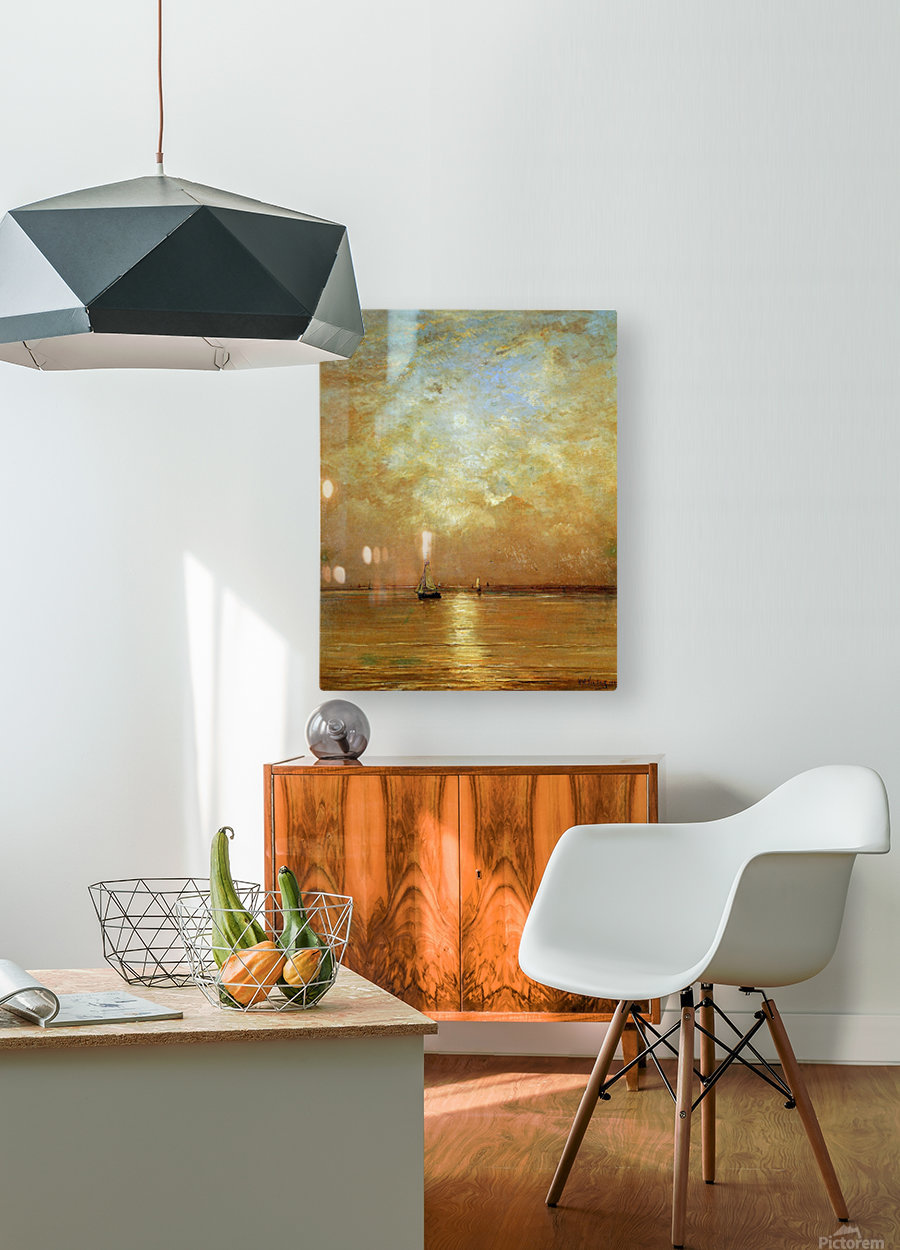 Sunset at Scheveningen Sun  HD Metal print with Floating Frame on Back