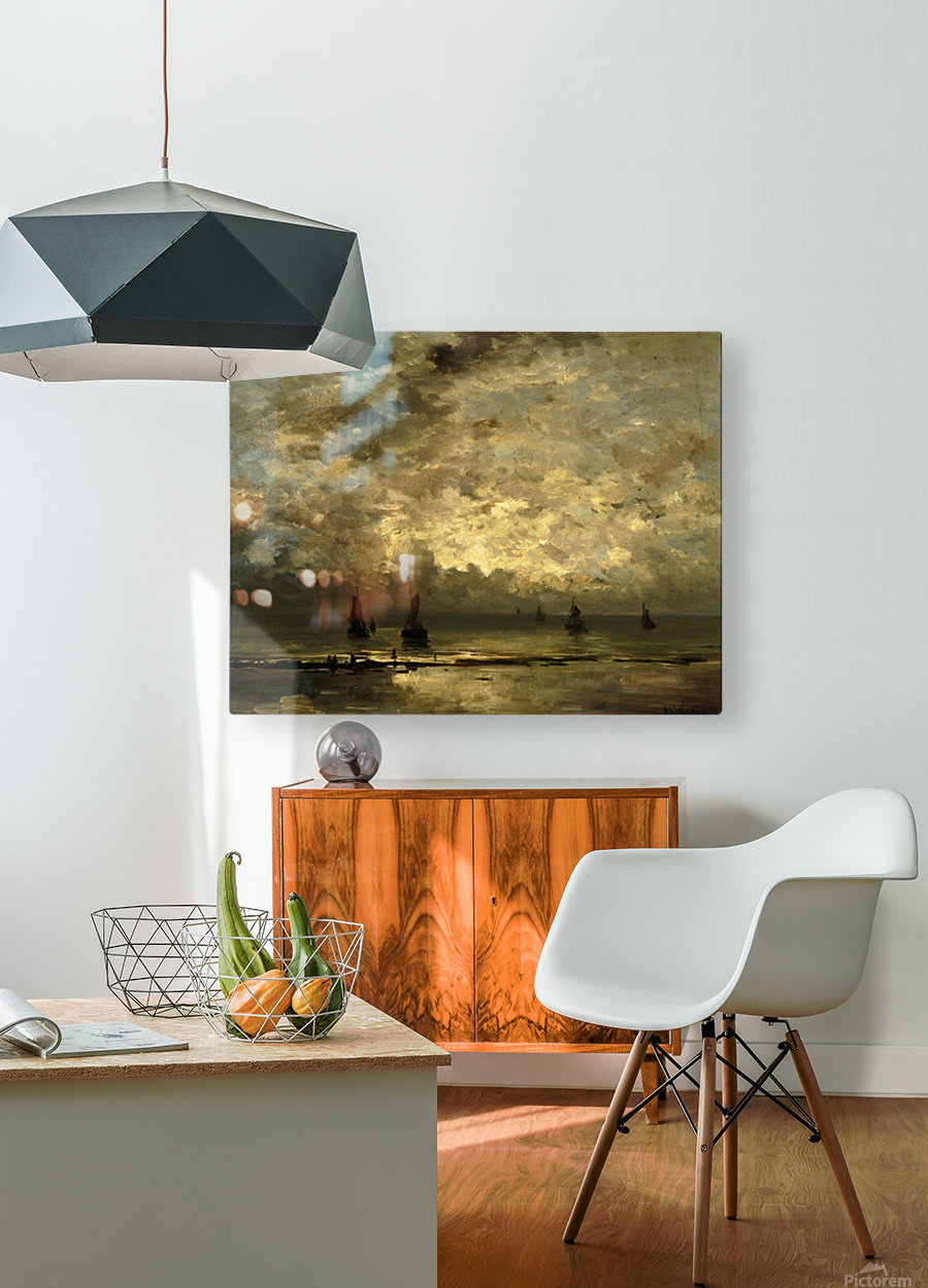 Schepen op zee onder bewolkte hemel  HD Metal print with Floating Frame on Back