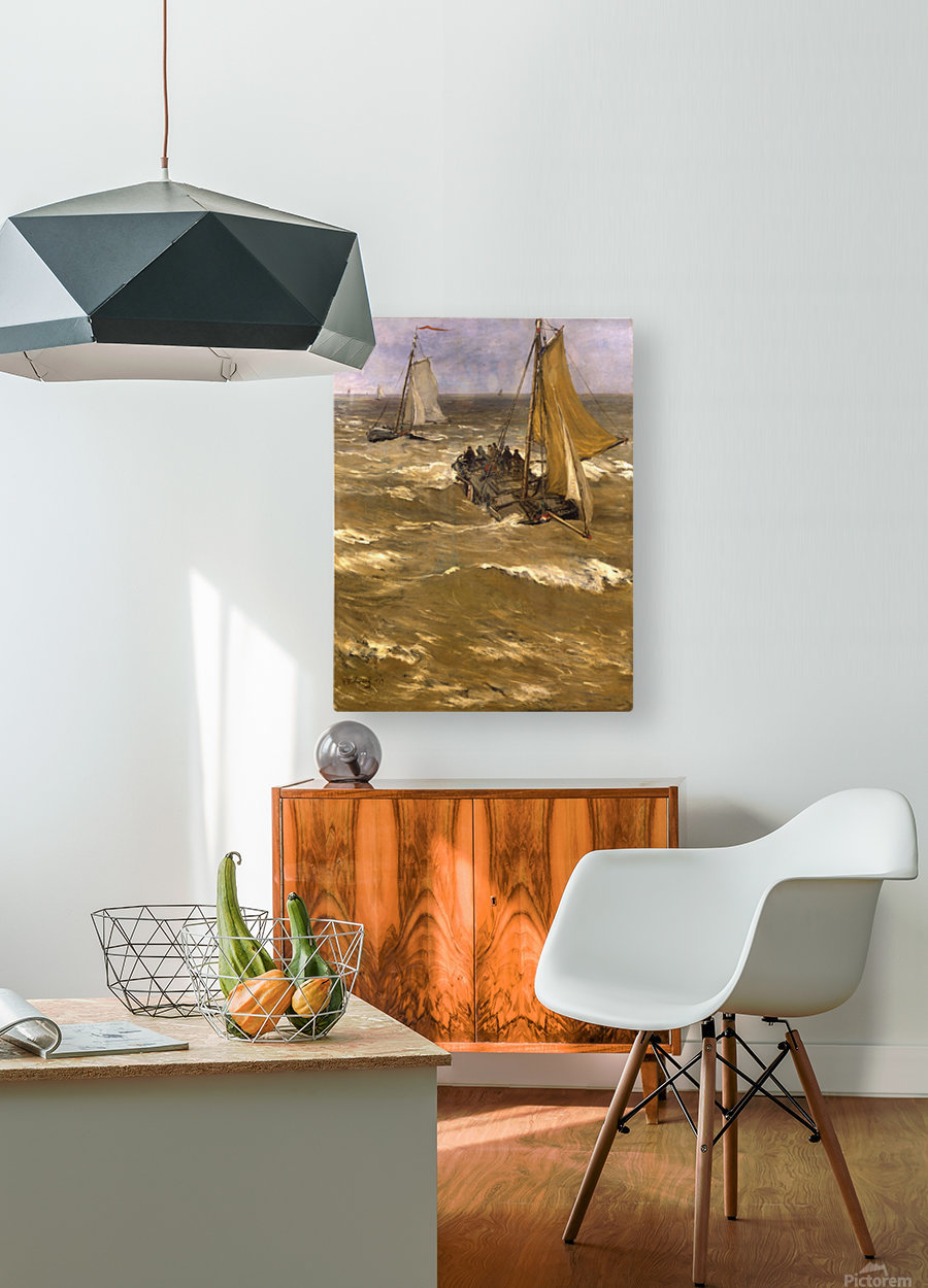Return fishing ships Sun  HD Metal print with Floating Frame on Back
