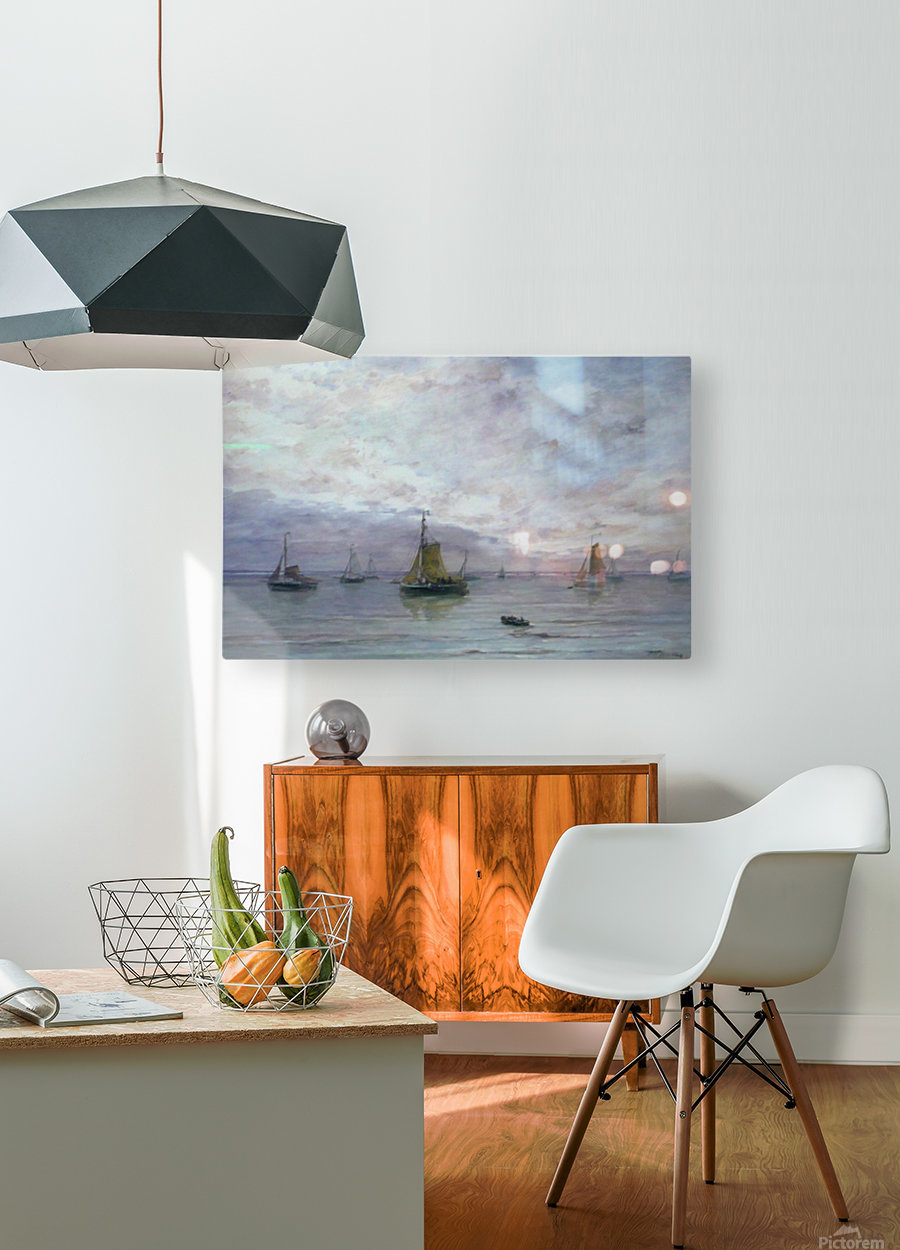Ships on anchor  HD Metal print with Floating Frame on Back