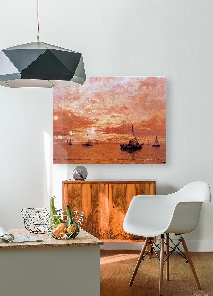 Calm Sea Sun  HD Metal print with Floating Frame on Back