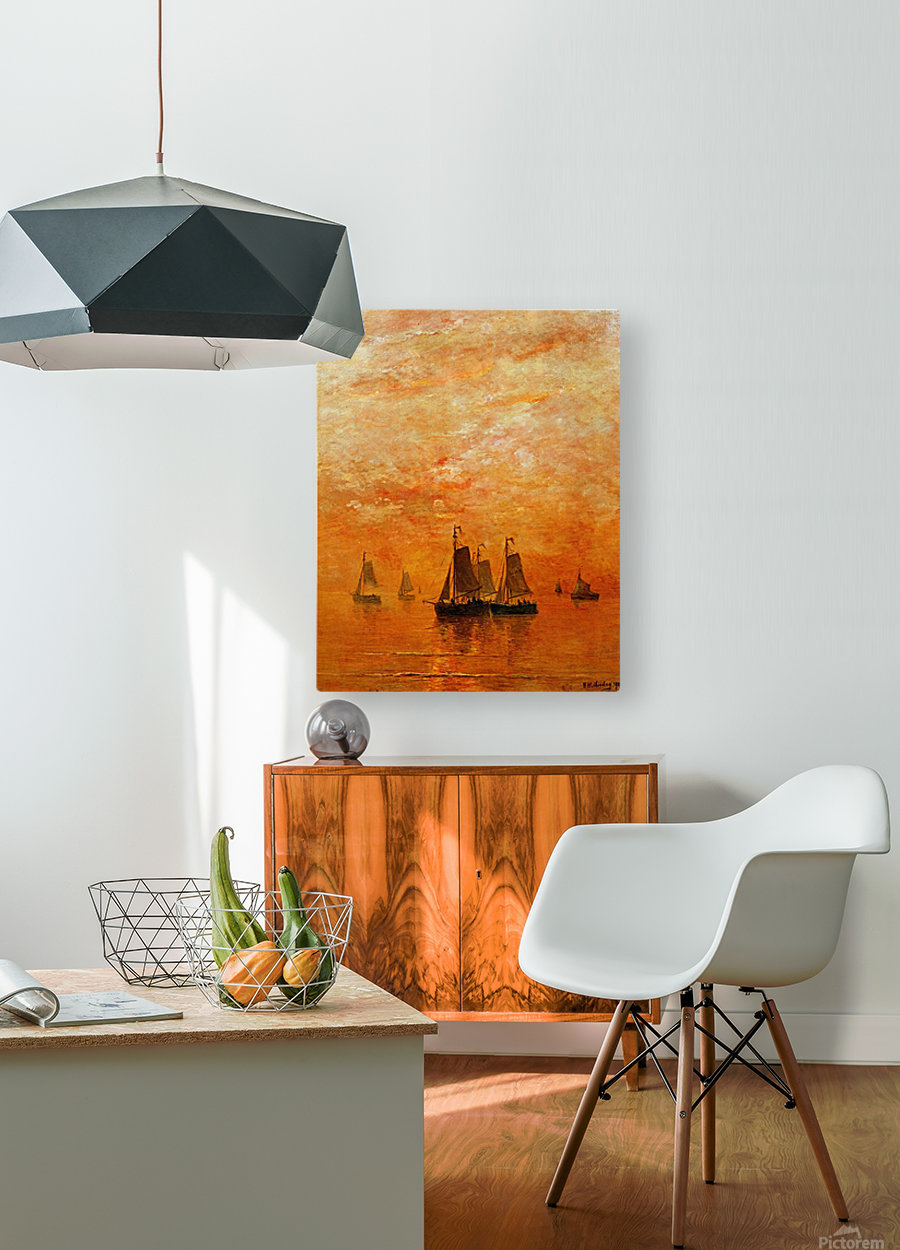 Ships on sunset  HD Metal print with Floating Frame on Back