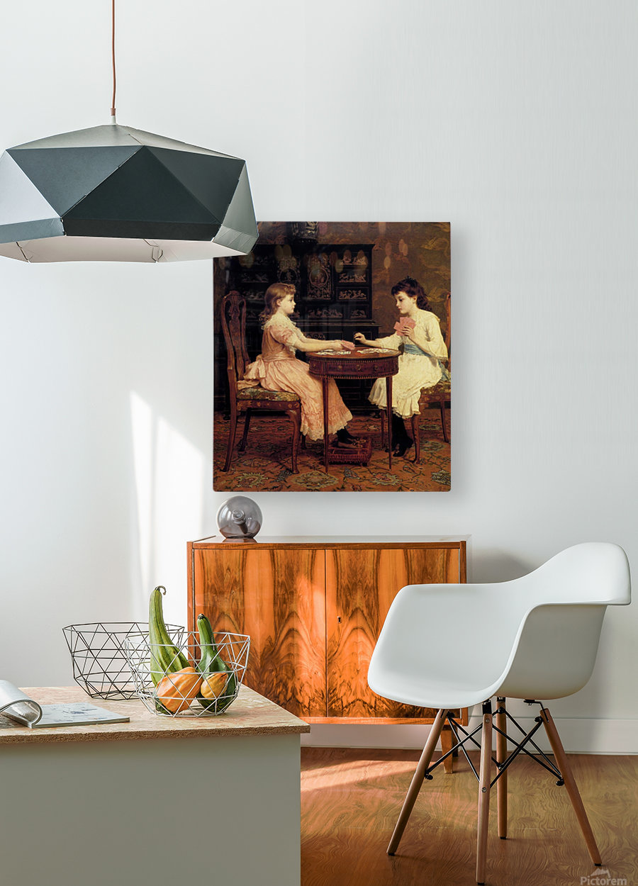 Two girls playing cards  HD Metal print with Floating Frame on Back