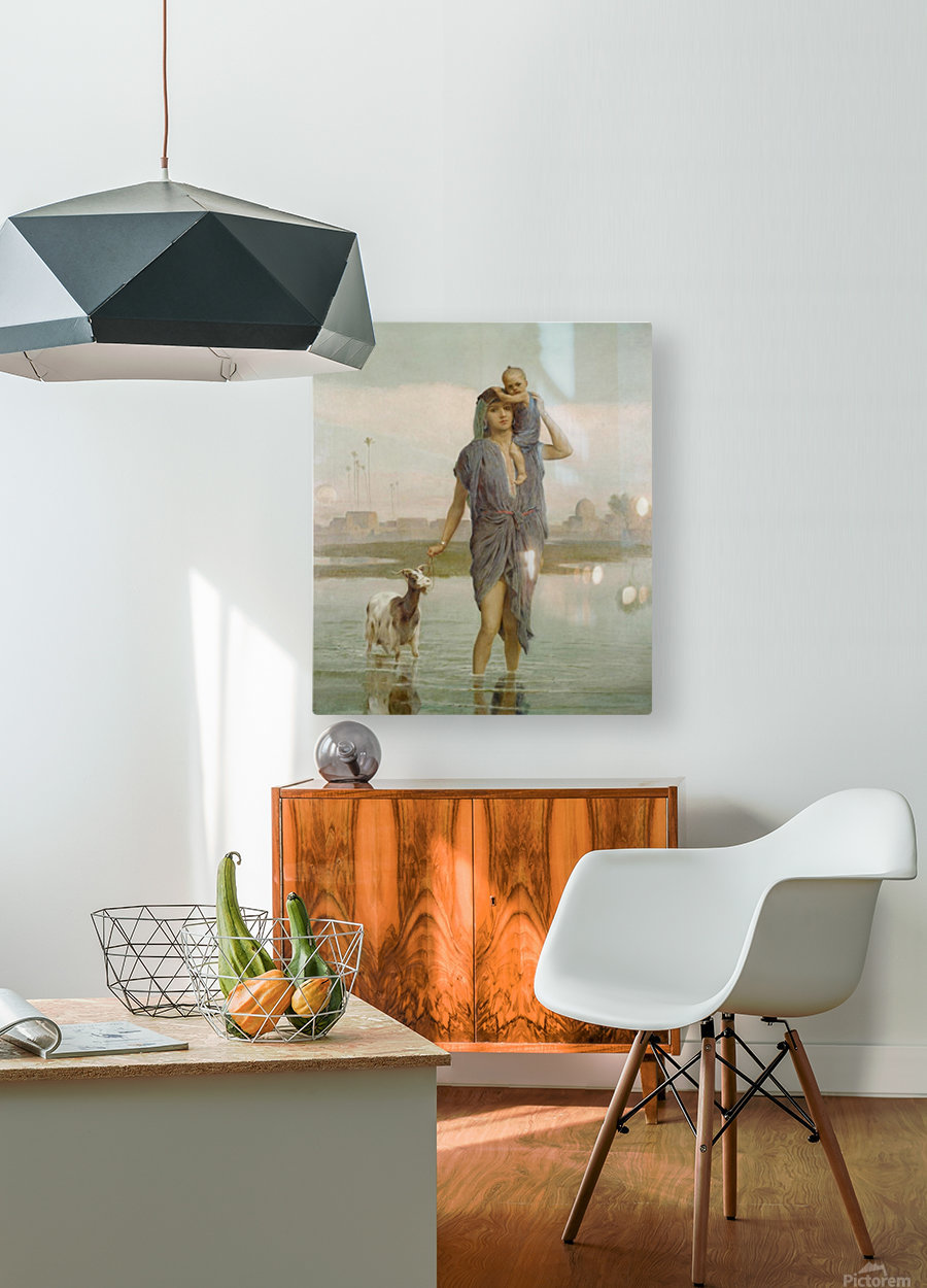 A young mother and a goat  HD Metal print with Floating Frame on Back