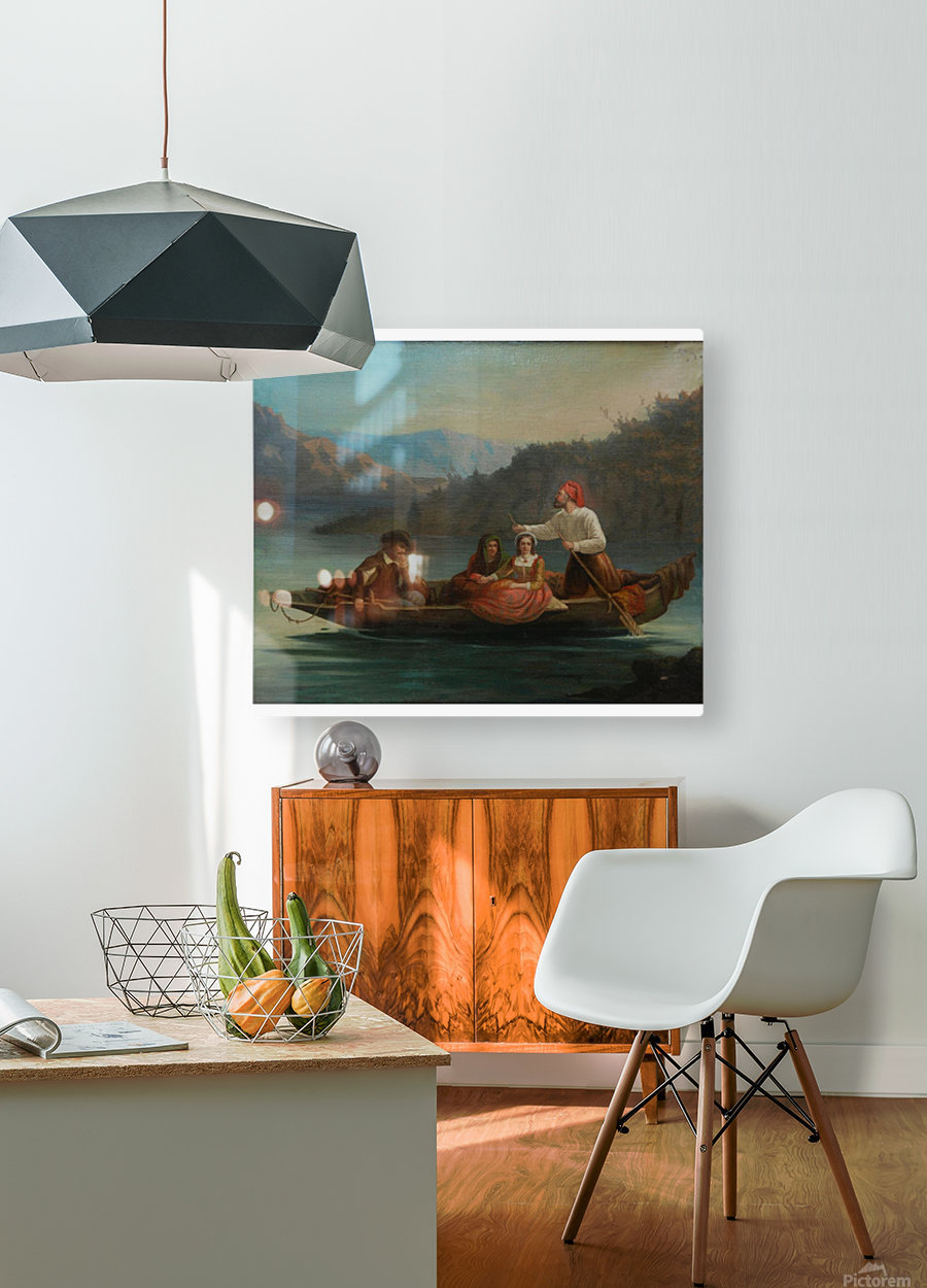 Crossing the river with a boat  HD Metal print with Floating Frame on Back