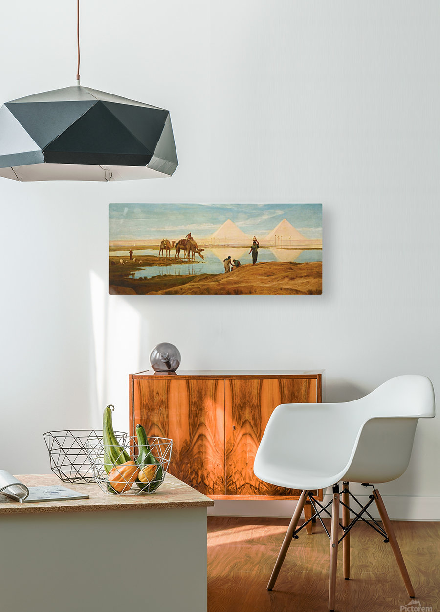 People and camels by the pyramids  HD Metal print with Floating Frame on Back