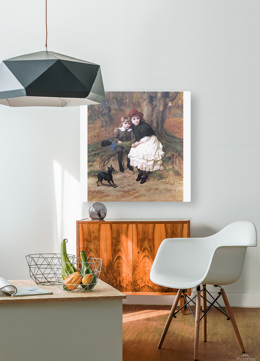 Two children and their dog  HD Metal print with Floating Frame on Back