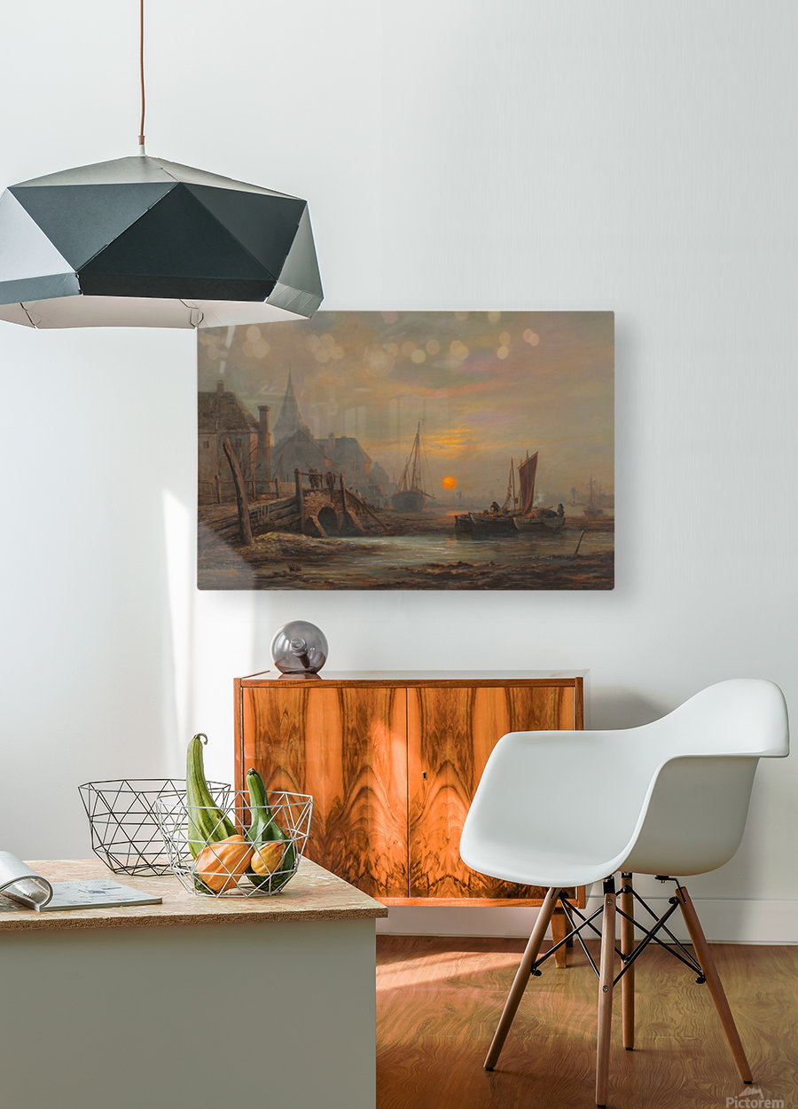 Sunset in a port  HD Metal print with Floating Frame on Back