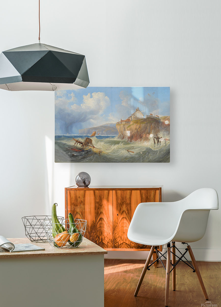 Landscape with a house by the sea  HD Metal print with Floating Frame on Back