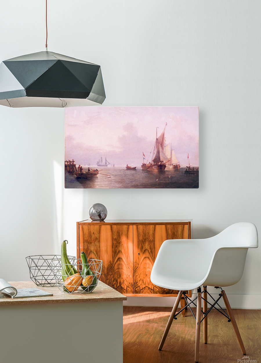 Shipping off a Dutch Port  HD Metal print with Floating Frame on Back