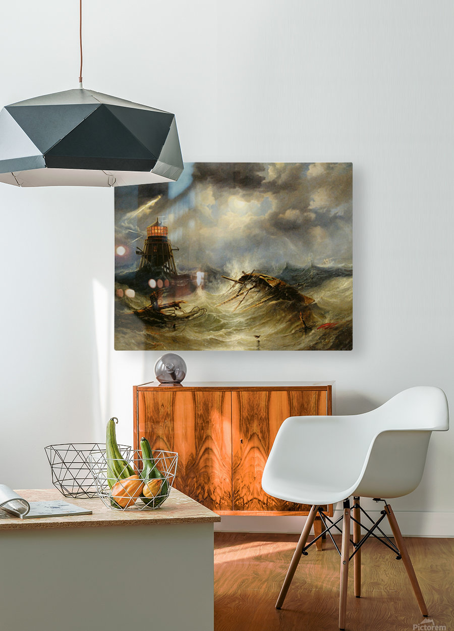A stormy day on the sea and the lighthouse  HD Metal print with Floating Frame on Back
