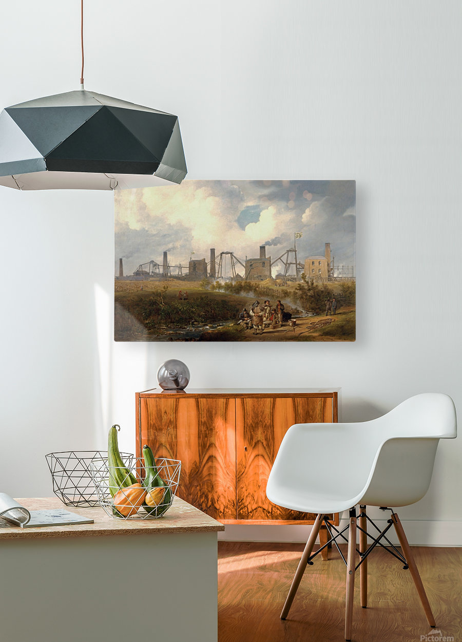 Workers near the factory  HD Metal print with Floating Frame on Back