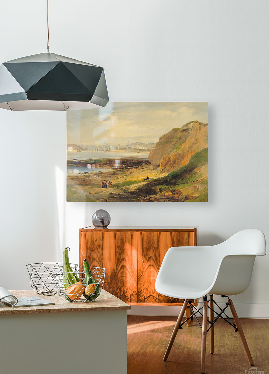 Landscape with boats near a distant city  HD Metal print with Floating Frame on Back