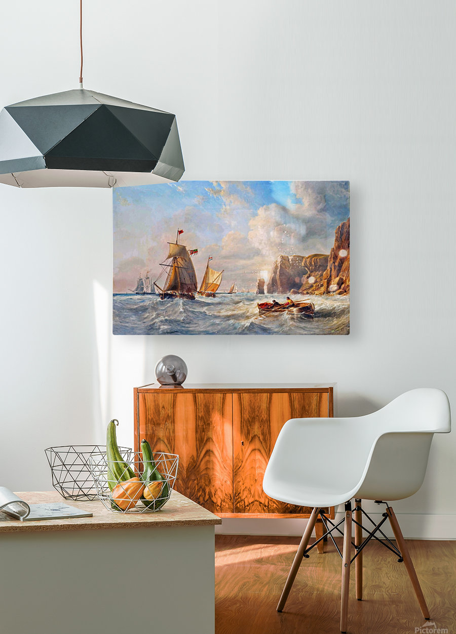 A Breezy Day off Flamborough Head  HD Metal print with Floating Frame on Back